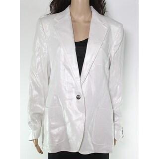 Lauren by Ralph Lauren Womens Jacket White Ivory Size 10 Shimmer