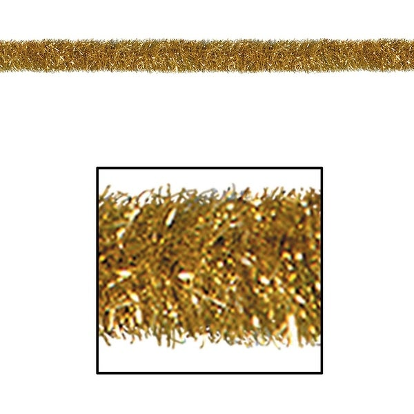 100' Festive Shiny Gold Gleam 'N Tinsel Holiday Garland - Unlit - green