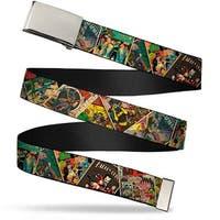 Blank Chrome  Buckle Retro Batman Comic Books Stacked Webbing Web Belt
