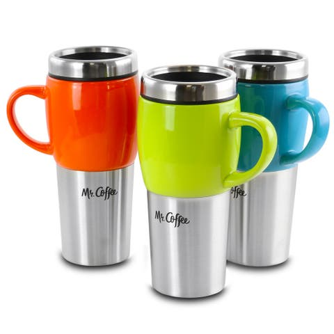 Mr. Coffee Traverse 3 Piece 16 Ounce Stainless Steel and Ceramic Travel Mug and Lid in Red, Blue and Green