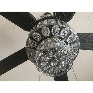 Silver Punched Metal And Clear Crystal Ceiling Fan Free
