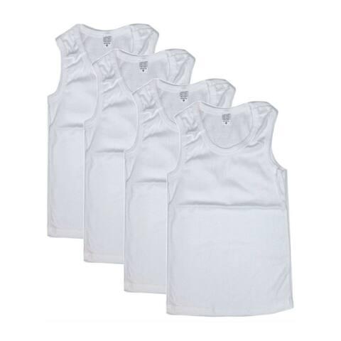 Strawberry White Ribbed 4 Pcs Pack Tank Top Undershirt Boys