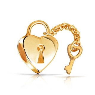 Bling Jewelry Gold plated Heart Shaped Lock and Key Charm Bead .925 Sterling Silver