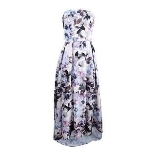 Xscape Women's Strapless Floral-Print Ballgown - Blue Multi