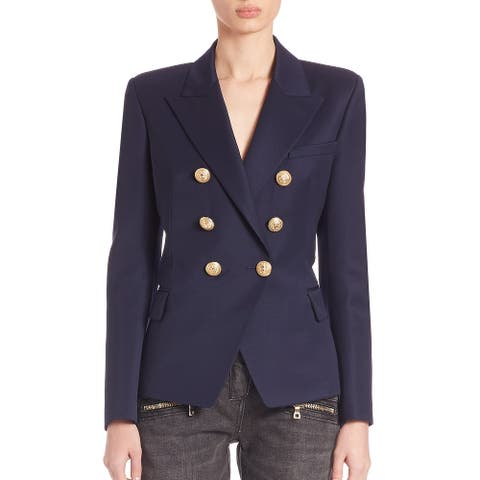 BALMAIN Womens Navy Blue Breasted Blazer Size 44