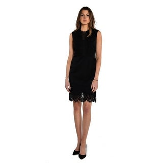 Vince Camuto Sleeveless Ponte Dress With Lace Trim In Black