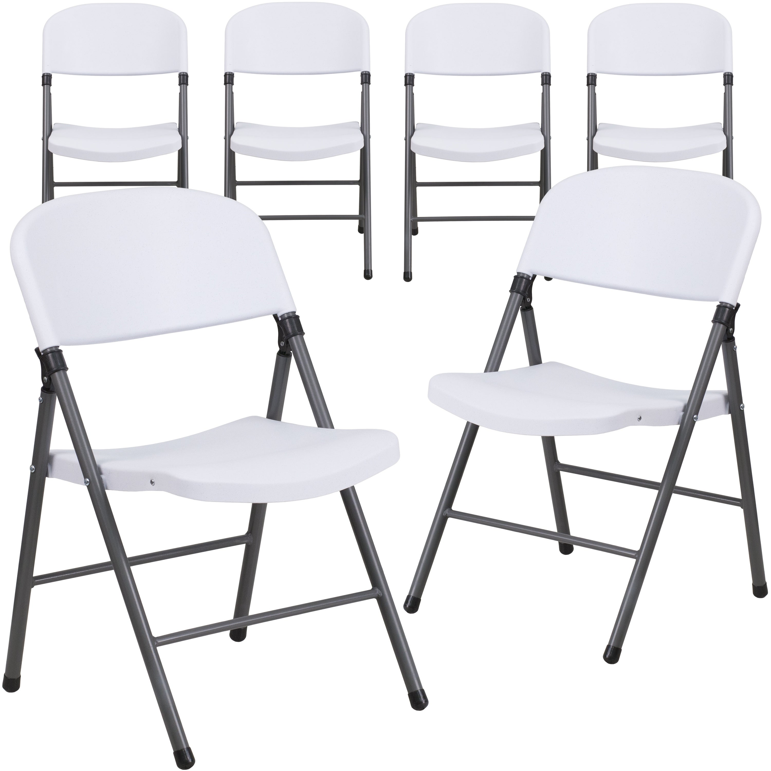 Plastic Folding Chair With Charcoal Frame Set Of 6 On Sale Overstock 27066799 Granite White
