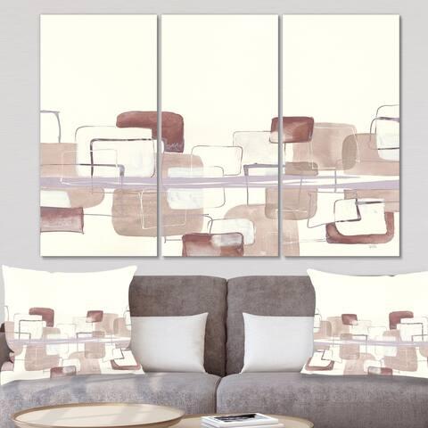 Designart 'Watercolor Minimal Boxes I' Modern Canvas Artwork
