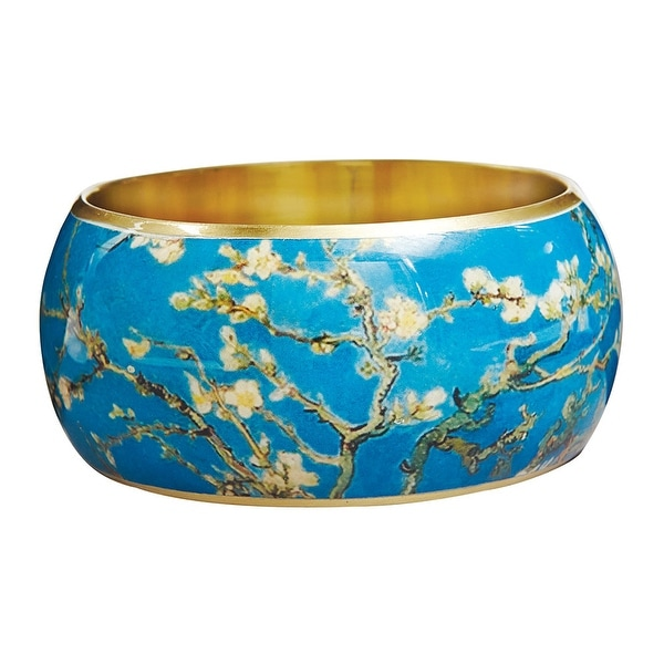 """Women's Van Gogh Almond Blossoms Bangle Bracelet - 1 1/2"""" Wide Lacquered on Brass - Multicolored"""
