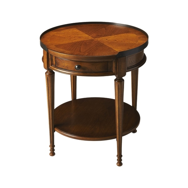 Offex Transitional Olive Ash Burl Finish Round Accent Table - Medium Brown