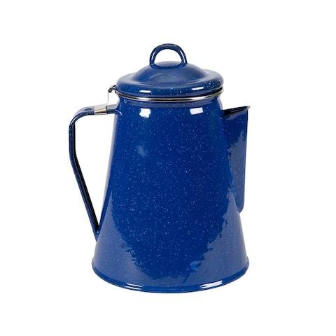 "Stansport Enamel Percolator Coffee Pot 8 Cup - 6.5"" L x 6.5"" W x 9.5"" H"
