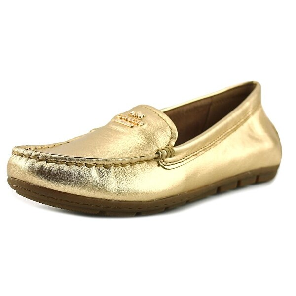 Coach Mary Lock Up Women Round Toe Leather Gold Flats