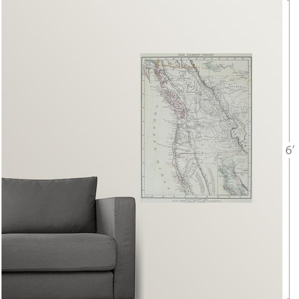 """Shop """"Map of Pacific Northwest, United States"""" Poster Print - Overstock -  21000077"""