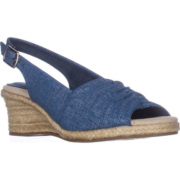 Easy Street Kindly Slingback Wedge Espadrilles, Blue Metallic