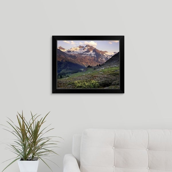 """""""Spilllimacheen Glacier from meadow basin of Silent Mountain, Canada"""" Black Framed Print"""