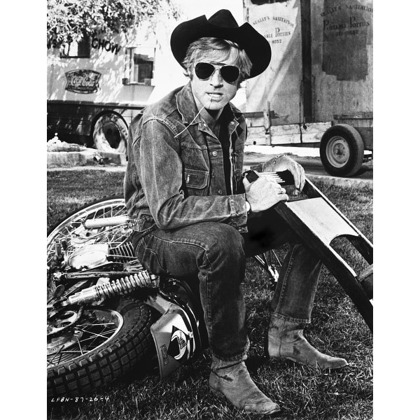 Shop Robert Redford wearing a cowboy hat on a motorcycle Photo Print - Free  Shipping On Orders Over  45 - Overstock - 25396097 a41b765c8ff