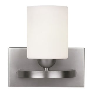 Canarm Luztar Hampton 1 Bulb Vanity Light with White Opal Glass - Brushed Pewter