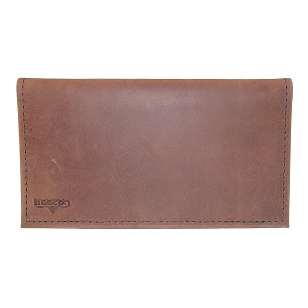 Boston Leather Distressed Copper Explorer Leather Checkbook Cover - One size