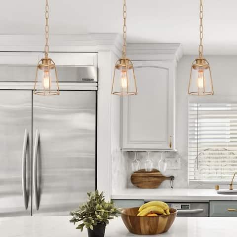 "Mid-Century Modern Glass Shade Mini Island Pendant Lighting Fixture for Dining Room - D 4.75"" x H 6.5"""