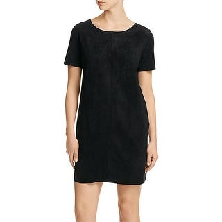 Velvet Womens Casual Dress Faux Suede Short Sleeves