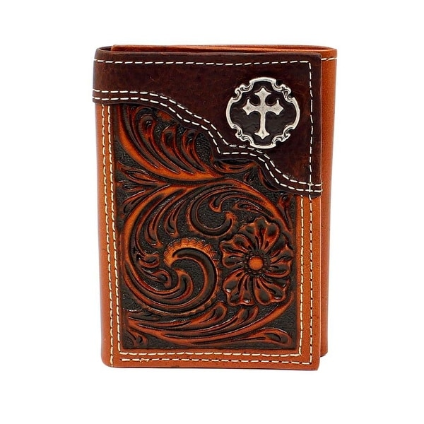 Nocona Western Wallet Mens Trifold Cross Floral Embossed Tan - One size