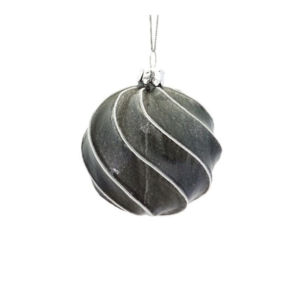 "3"" Winter Light Gray and White Glitter Swirl Glass Ball Christmas Ornament"