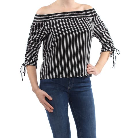 POLLY & ESTHER Womens Black Tied Cuff Striped 3/4 Sleeve Off Shoulder Top Size: L