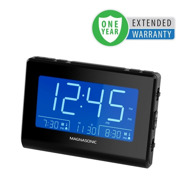 Magnasonic Alarm Clock Radio with Battery Backup, Dual Alarm, Dimming, Daylight Savings Time - 1 Year Extended Warranty
