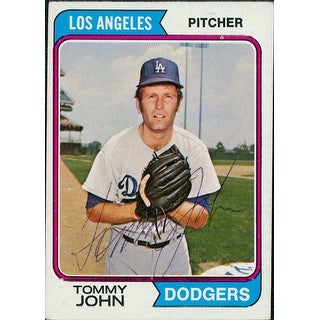 Signed John Tommy Los Angeles Dodgers 1974 TCG Baseball Card in black ball point pen autographed