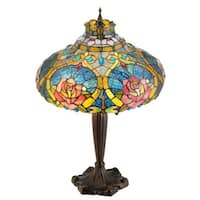 """Meyda Tiffany 138108 Dragonfly Rose 2 Light 26"""" Tall Hand-Crafted Table Lamp with Stained Glass - n/a"""