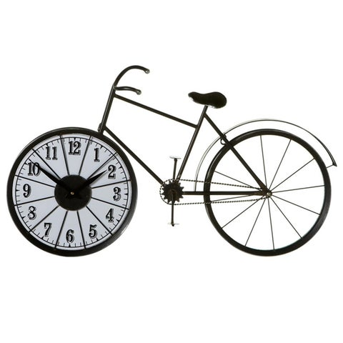"""32"""" Decorative Rustic Ivory and Black Bicycle Sculpture Numeral Desk Clock"""