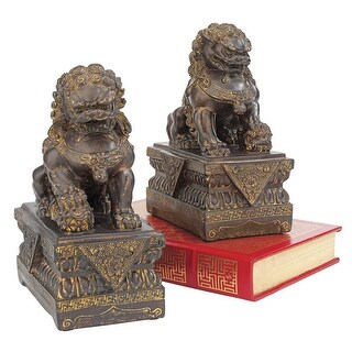 Design Toscano Chinese Guardian Lion Foo Dog Statues Set of Two