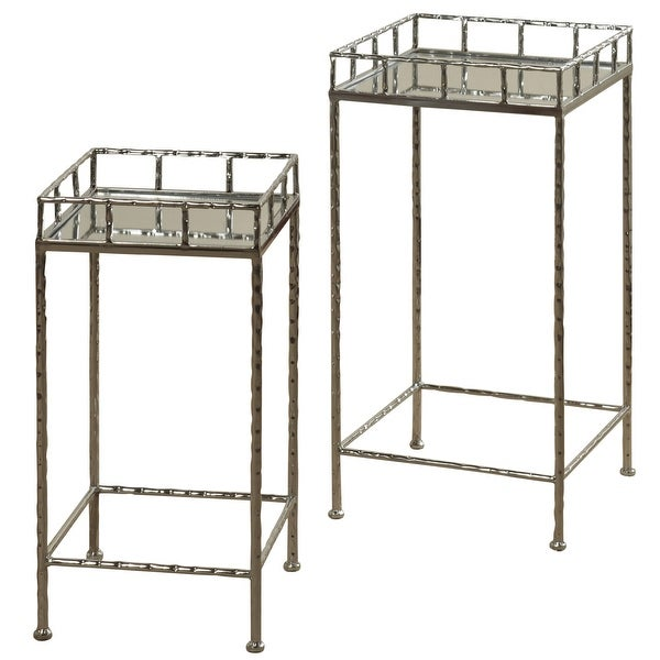 StyleCraft SC-SF224969 Multiple Sized Glass and Metal Nesting Table - Set of (2) - Silver Leaf