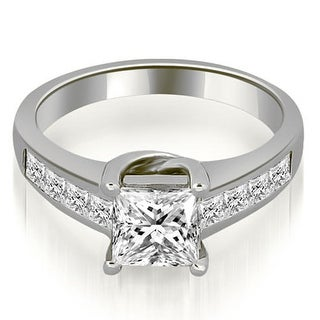 1 00 Ct Tw 14K White Gold Channel Princess Cut Diamond Engagement Bridal Ring