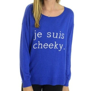Joie NEW Blue Je Suis Cheeky Print Womens Large L Scoop Neck Sweater