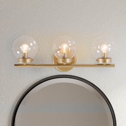 """Mid-Century Gold Wall Sconce 3-lights Bathroom Vanity Lighting with Global Clear Glass - L19.5""""x W6""""x H7.5"""""""