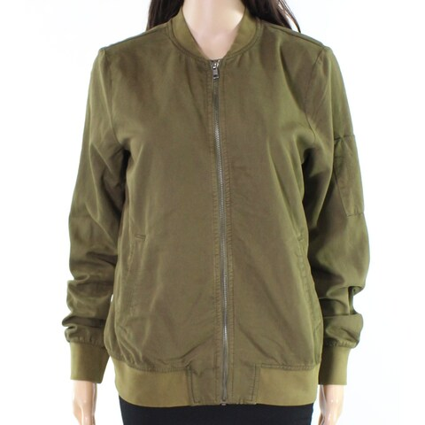 Hinge Olive Womens Small Full Zipper Bomber Jacket