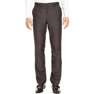 Kenneth Cole Reaction Slub Straight Fit Flat Front Dress Pants Grey 34 x 30