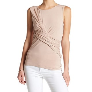 Free People NEW Nude Pink Womens Size S Faux-Wrap Stretch Tank Top