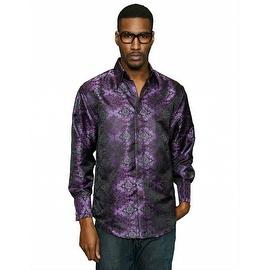 MZT-222 PURPLE Men's Manzini Paisley Woven Shirt French Cuff with Cufflink Included