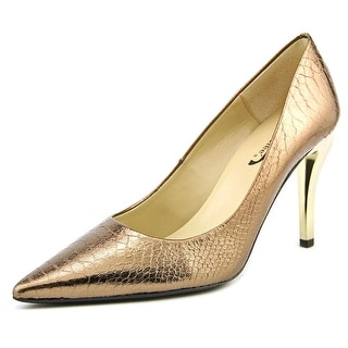 J. Renee J0096 Women Pointed Toe Leather Bronze Heels