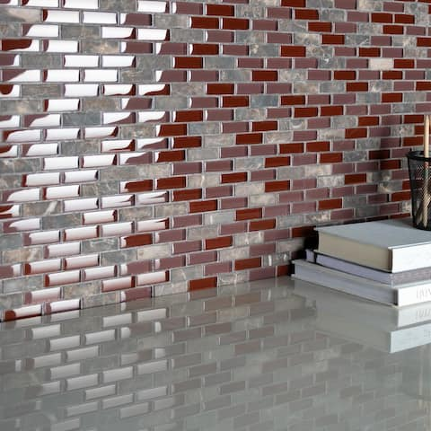 "SomerTile Tessera Subway Bordeaux 10.75"" x11.75"" Glass and Stone Mosaic"