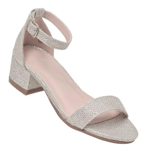 Lov Mark Girls Silver Shimmery Low Block Heel Open Toe Sandals