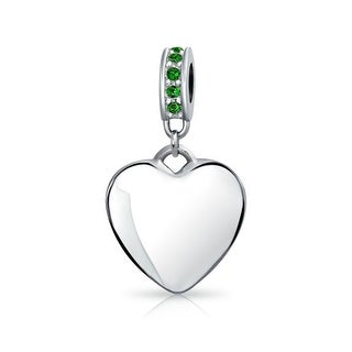 Bling Jewelry Imitation Emerald Crystal Heart Shaped Dangle Bead Charm .925 Sterling Silver