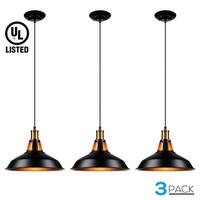 LEONLITE Industrial Metal Pendant Light, Matte Black, UL Listed, Pack of 3