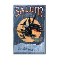 Salem, Massachusetts Witch Vintage Sign LP Artwork (Acrylic Wall Clock) - acrylic wall clock