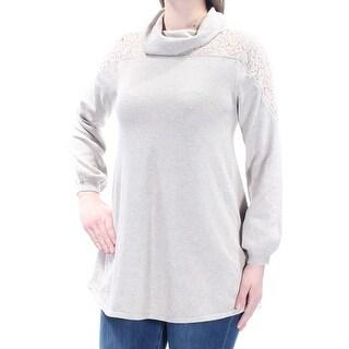 Womens Beige Long Sleeve Cowl Neck Sweater Size M
