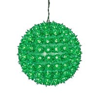 "10"" Green Lighted Hanging Star Sphere Christmas Decoration"