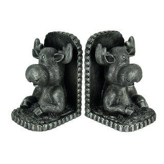 Antique Pewter Finish Rustic Moose Bookend Set - 7.5 X 5 X 4.5 inches