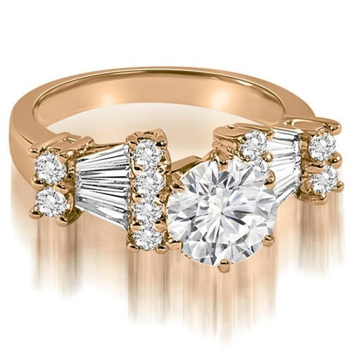 2.70 cttw. 14K Rose Gold Round and Baguette Diamond Engagement Ring